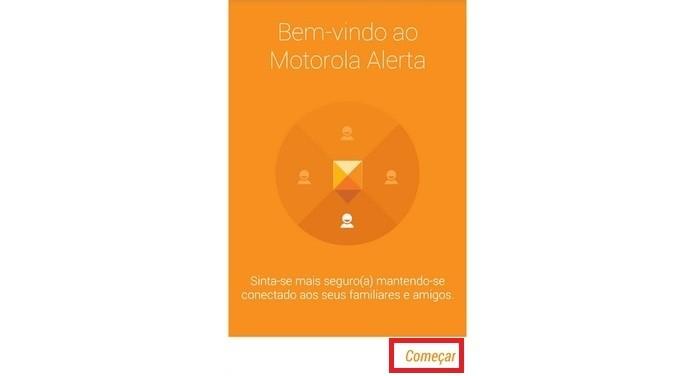Destaque para botão Começar na tela inicial do Alerta Motorola (Foto: Reprodução/Raquel Freire)