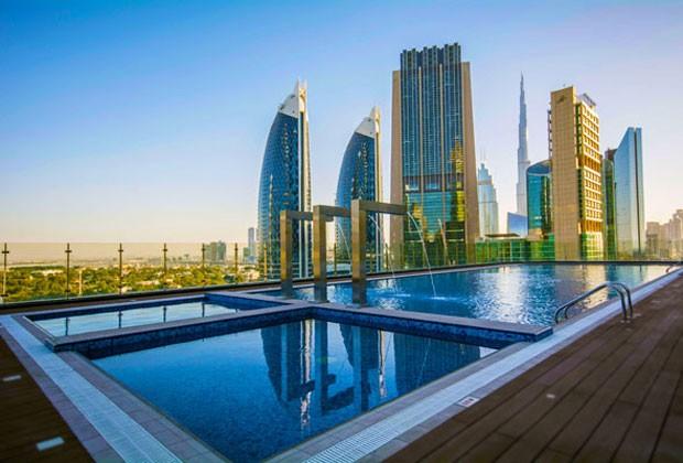 O Gevora Hotel, inaugurado em Dubai, ganhou o título do Guiness Book of Records como o mais alto do mundo. (Foto: Divulgação)
