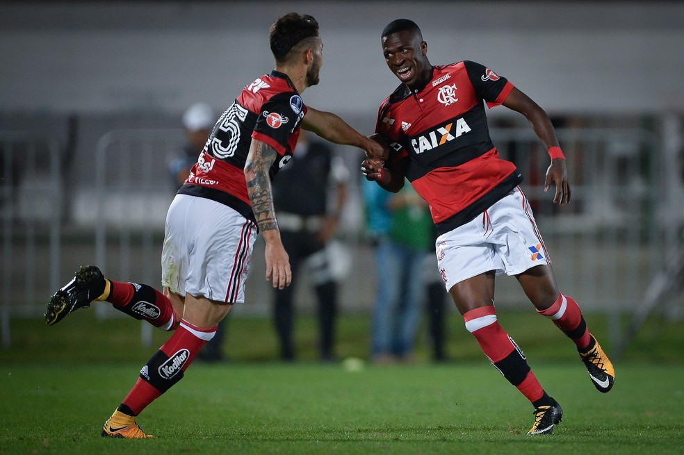 Vinicius Junior Flamengo x Palestino (Foto: Pedro Martins/MoWA Press)