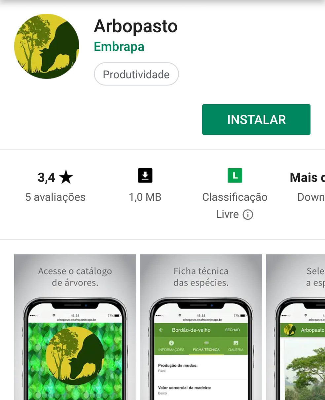 Aplicativo 'Arbopasto' também funciona sem internet.  — Foto: Arbopasto/ Divulgação