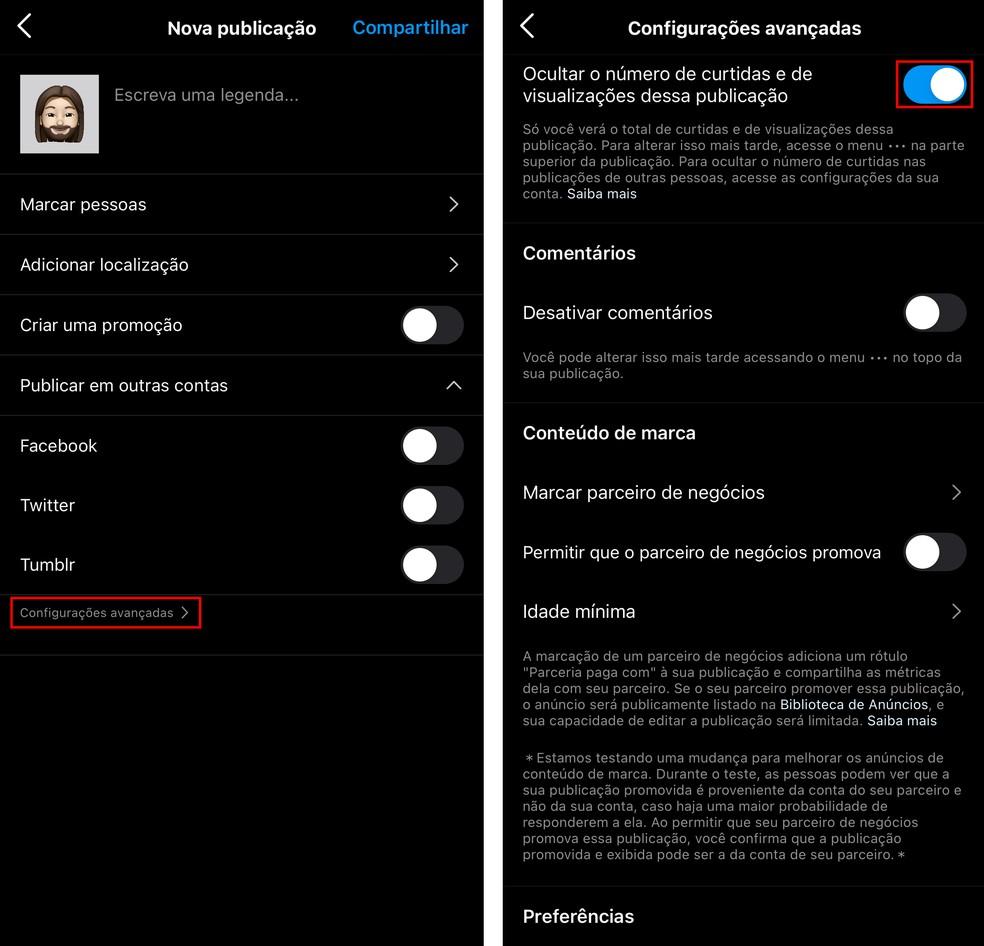 Como tirar as curtidas do Instagram? App permite ocultar número de likes de uma nova publicação, no momento da postagem — Foto: Reprodução/TechTudo