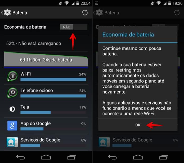 Ativando o modo de economia de bateria do Android (Foto: Reprodução/Helito Bijora)
