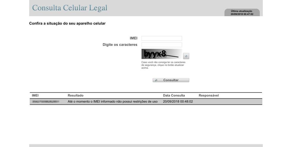 Consulta Celular Legal: ferramenta informa se IMEI está irregular — Foto: Reprodução / TechTudo