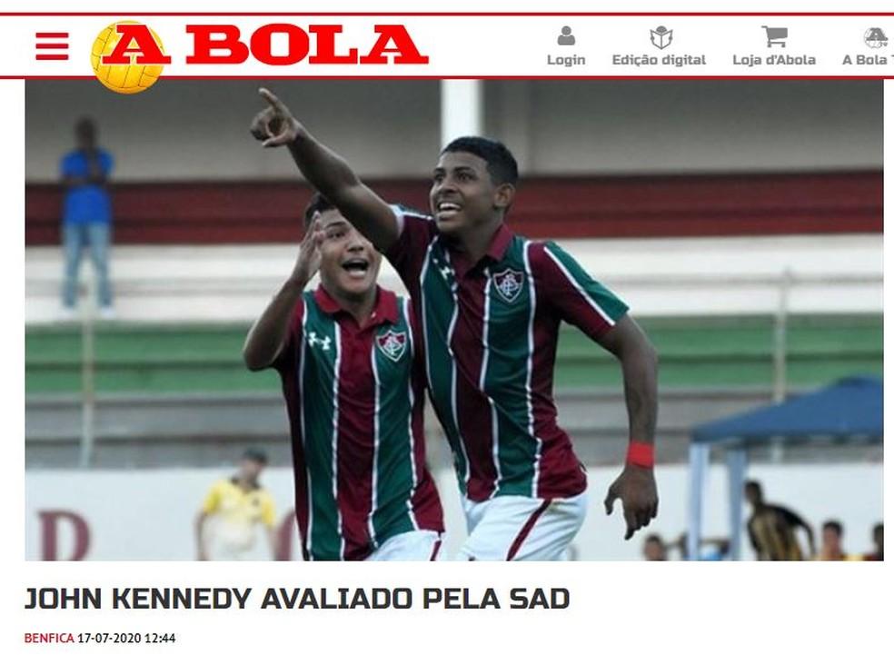 John Kennedy, Fluminense, Benfica — Foto: Reprodução / A Bola