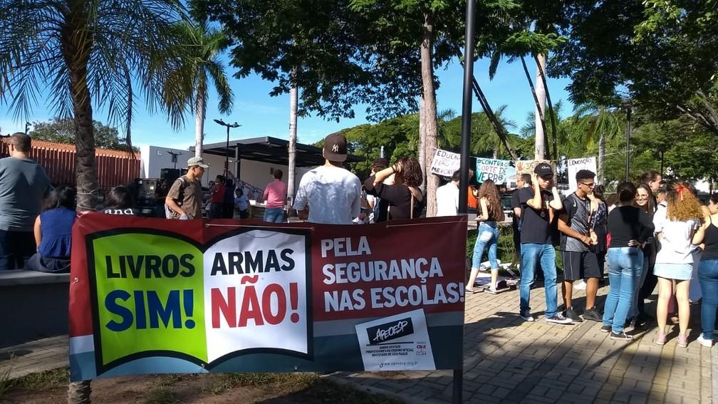 Salto (SP) - Protesto contra bloqueios na educação — Foto: Carolina Abelin/ TV TEM