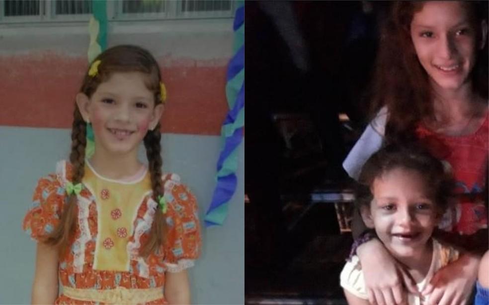 Da esquerda: Jasmim Barros Tavares sozinha e acompanhada de Milena Barros Tavares — Foto: Montagem/G1