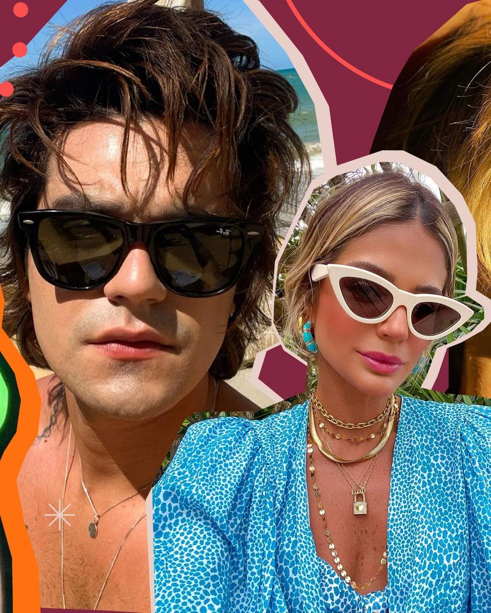 Os óculos de sol dos famosos: veja armações e inspire-se — Foto: Arte Isabella Pinheiro
