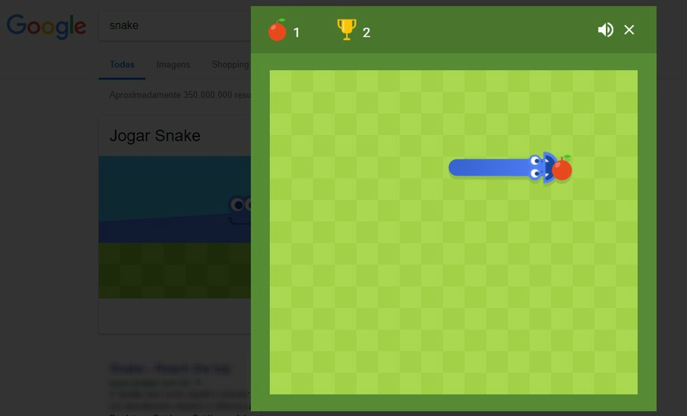 Google tem sua própria versão do  jogo Snake escondido na busca (Foto: Reprodução/Rodrigo Fernandes)