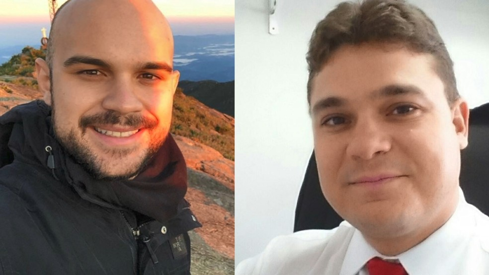 Motoristas suspeitos de provocar acidente na Terceira Ponte. À esquerda, Oswaldo Venturini Neto, de 22 anos. À direita, Ivomar Rodrigues Gomes Júnior, de 34 anos — Foto: Reprodução/TV Gazeta