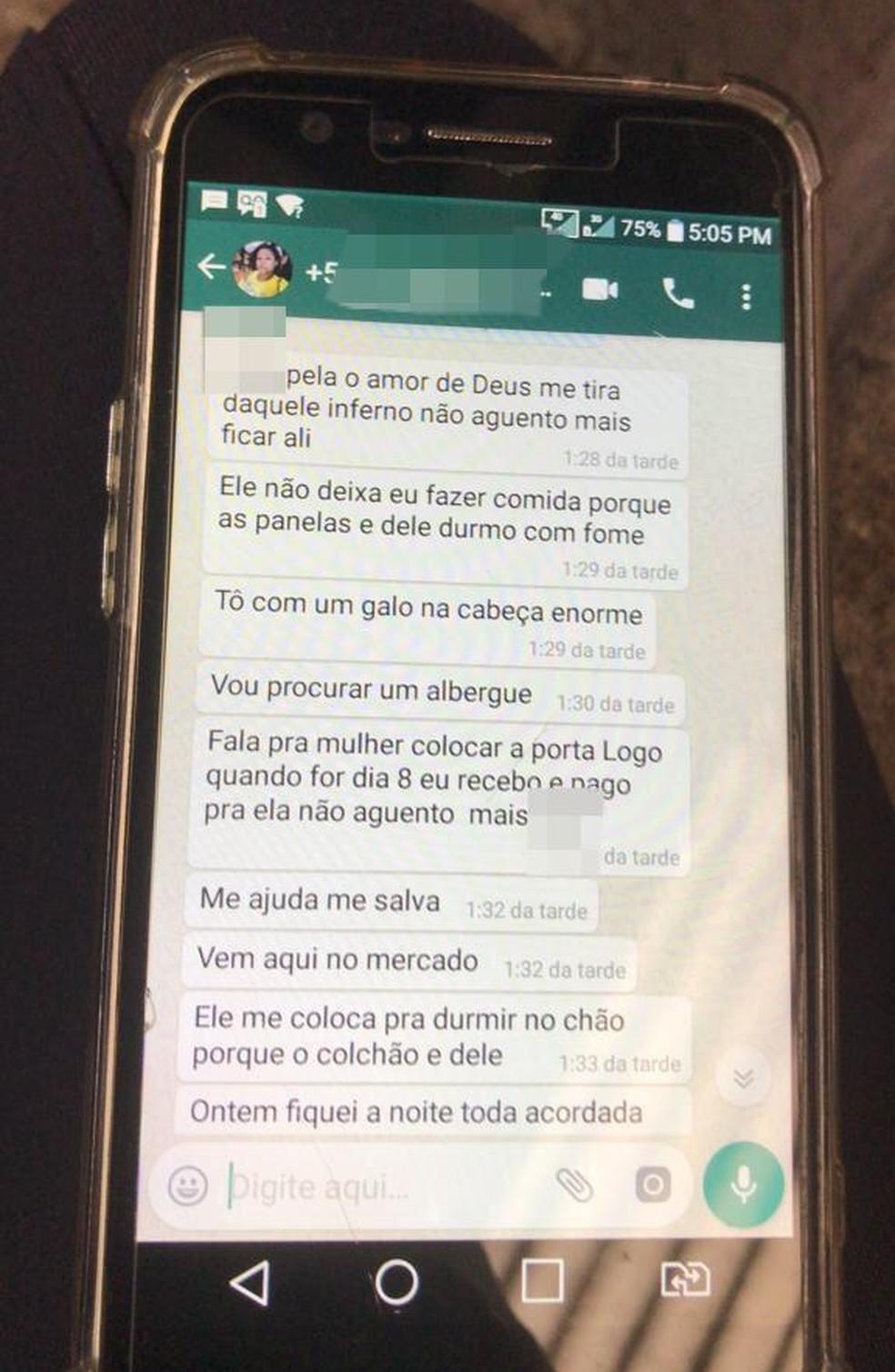 Em conversa no WhatsApp, Maria Edjane de Lima pede ajuda para vizinha em Barra Mansa — Foto: Raquel Ribeiro/TV Rio Sul