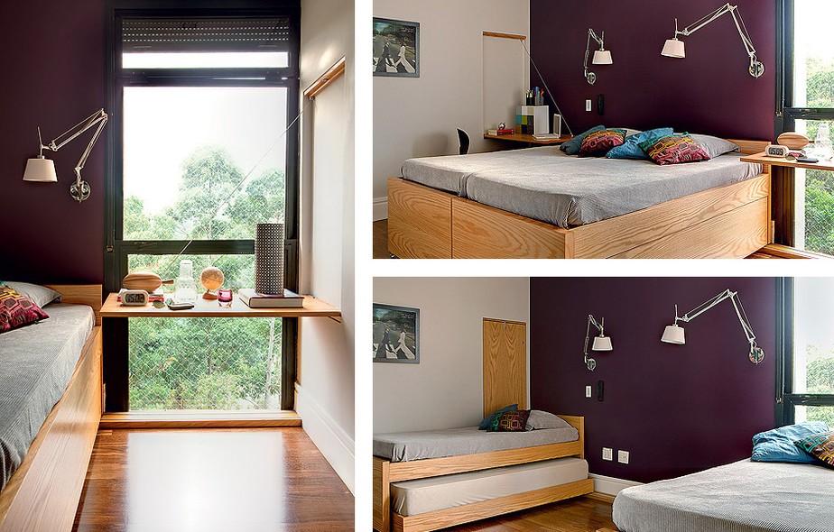 O quarto foi projetado para receber os filhos. As camas se multiplicam, com bicamas embutidas, mas a esperteza do projeto mora em outro lugar: de cada parede natural, desce um tampo de madeira carvalho, sustentado por cabo de aço. Ideia do Estúdio Cada Um