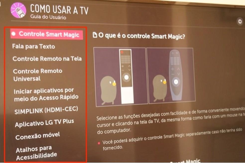 Dicas sobre como usar os recursos básicos de uma smart TV da LG — Foto: Reprodução/Marvin Costa