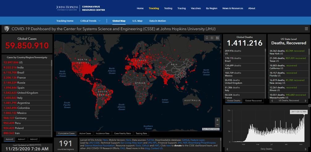 Mapa de casos e mortes por Covid em todo mundo, segundo a Universidade Johns Hopkins, na manhã desta quarta-feira (25)  Foto: Reprodução/jh.edu