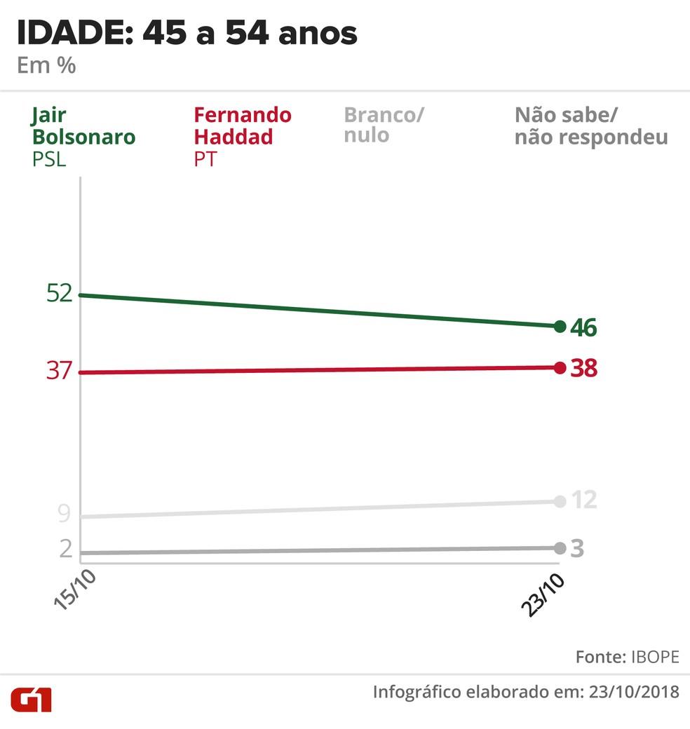 Pesquisa Ibope - 23 de outubro - intenção de voto por segmentos - idade: 45 a 54 anos — Foto: Arte/G1
