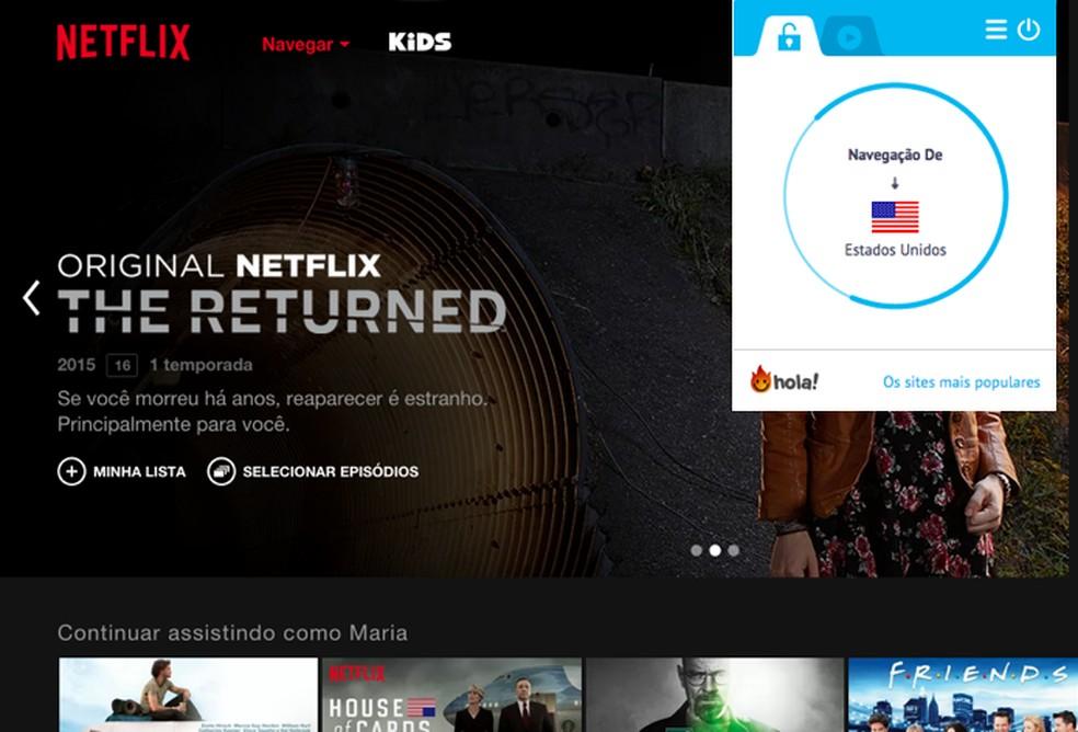 Netflix proíbe uso de VPN para acessar acervos de outros países — Foto: Reprodução/Paulo Alves