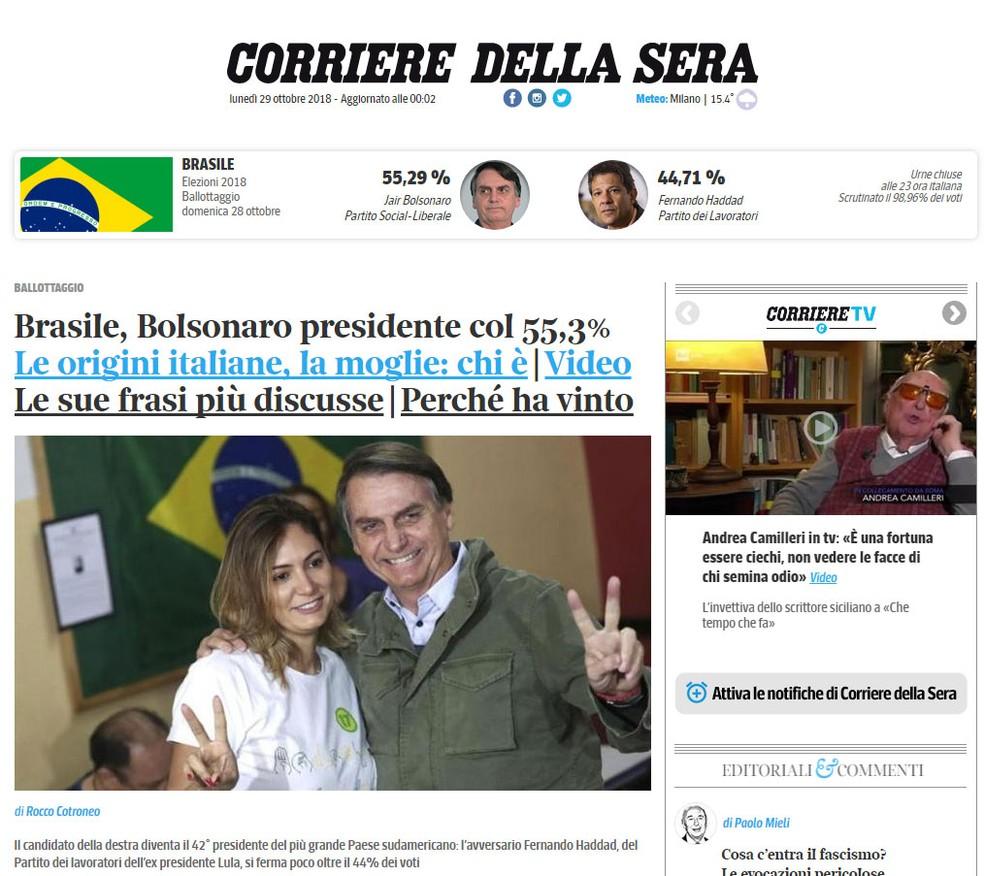 'Corriere della Sera' destaca vitória de Jair Bolsonaro — Foto: Reprodução/Corriere della Sera