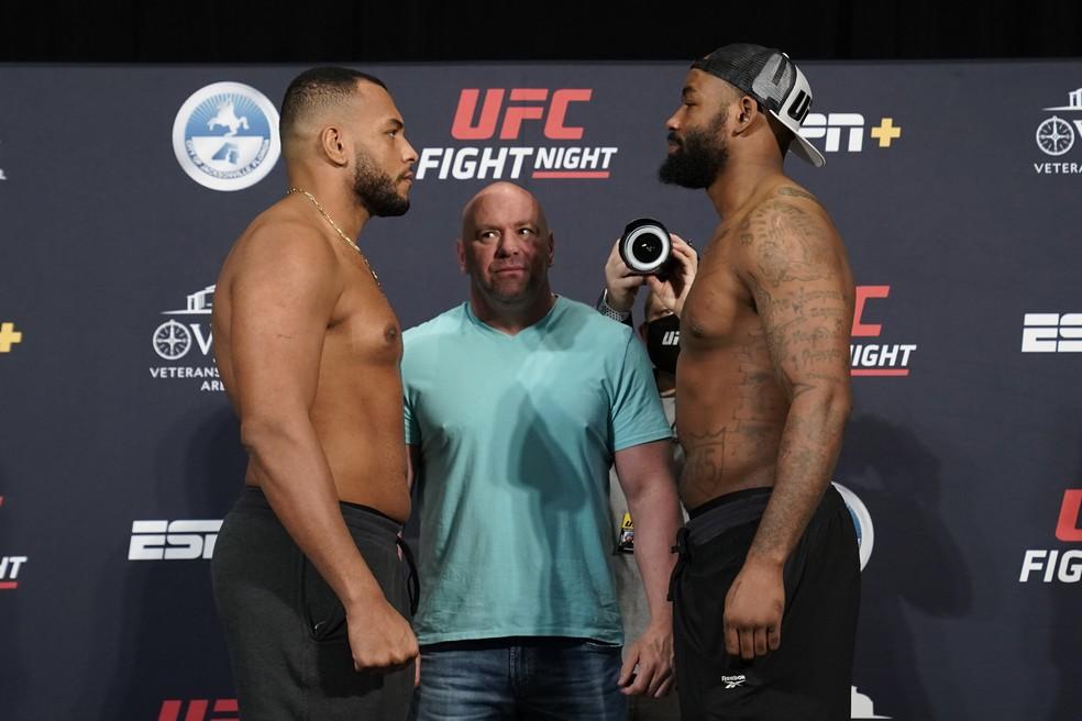 Rodrigo Zé Colméia Don'Tale Mayes encarada UFC: Overeem x Harris — Foto: Getty Images