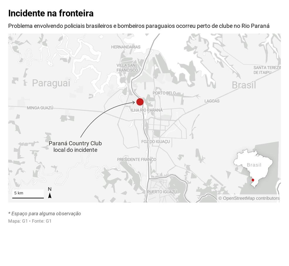 Incidente na fronteira do Brasil com o Paraguai — Foto: Infografia: Dennis Barbosa/G1