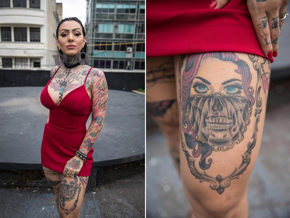 Melissa Ferraz tem cerca de 70% do corpo tatuado e foi eleita Miss Tattoo Week 2018 — Foto: Fábio Tito/G1