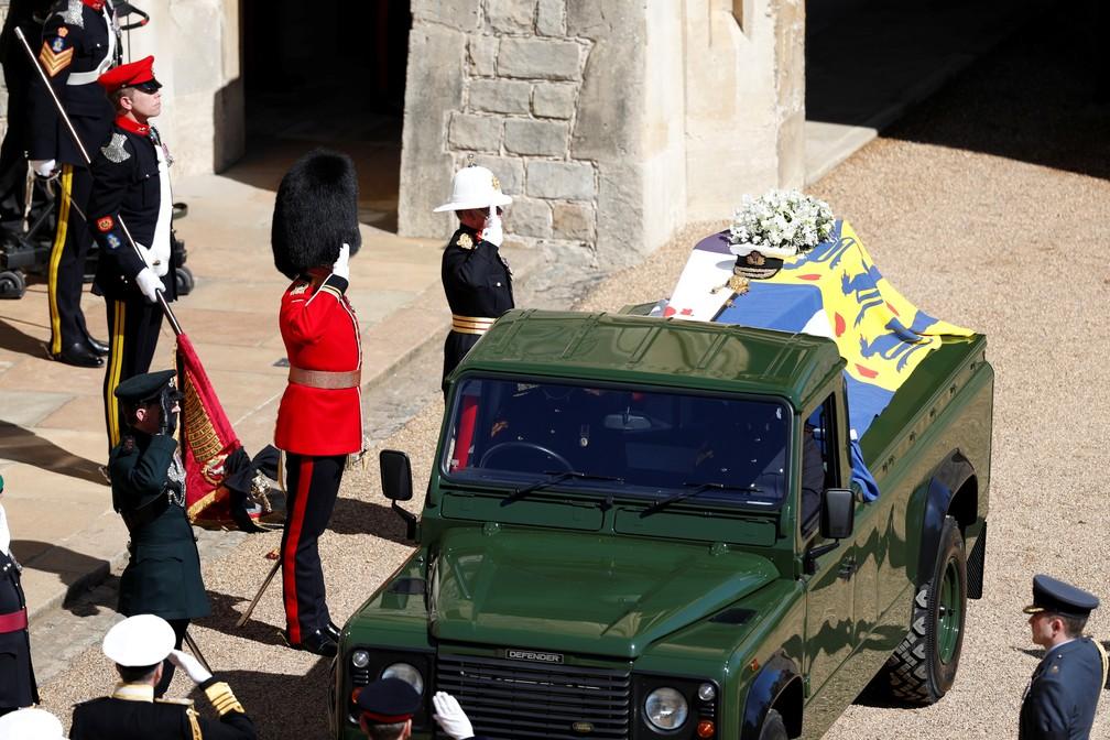 Funeral do príncipe Philip em Windsor neste sábado (17) — Foto: Adrian Dennis/Pool via REUTERS