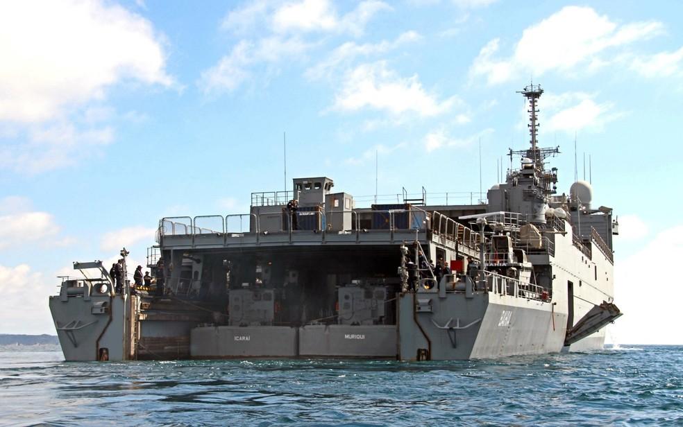 Navio Doca Multipropósito Bahia tem 260 fuzileiros navais a bordo (Foto: Divulgação/Marinha do Brasil)
