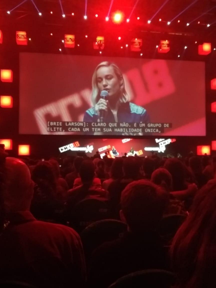 Brie Larson durante painel na CCXP 2018 (Foto: Isabela Moreira)