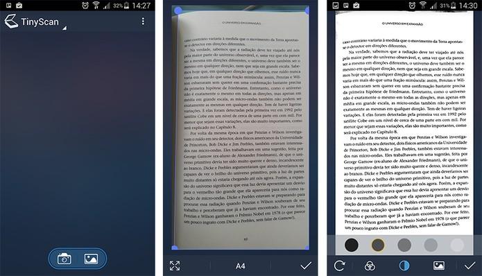TinyScan permite ajustar tamanho do papel e controlar níveis de contraste (Foto: Reprodução/Barbara Mannara)
