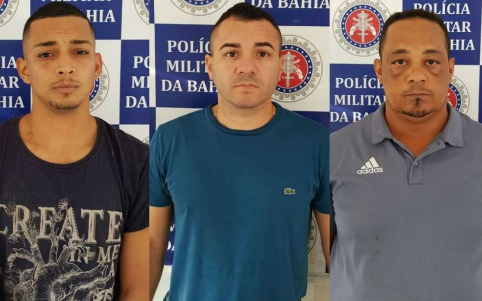 Narciso, Júnior Cleber e Claudio  foram presos enquanto planejavam ataque à quadrilha rival (Foto: Divulgação/SSP-BA)