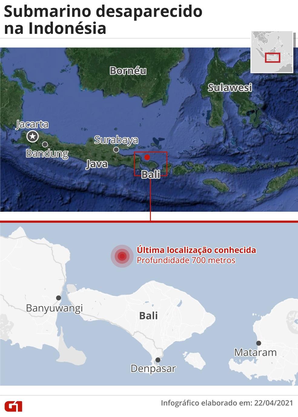 Mapa mostra local do último contato do submarino desaparecido — Foto: G1