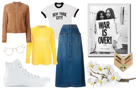 JOHN LENNON Jaqueta, R$ 2.685, Majestic Filatures; suéter, R$ 4.890, Nº21; tênis, R$ 696, Converse; saia, R$ 6.550, Chloé; broche, R$ 564, Iosseliani; broche, R$ 1.000, Arts&Science, tudo na Farfetch. Óculos, U$470, Sunday Somewhere; t-shirt, U$19, Amazon
