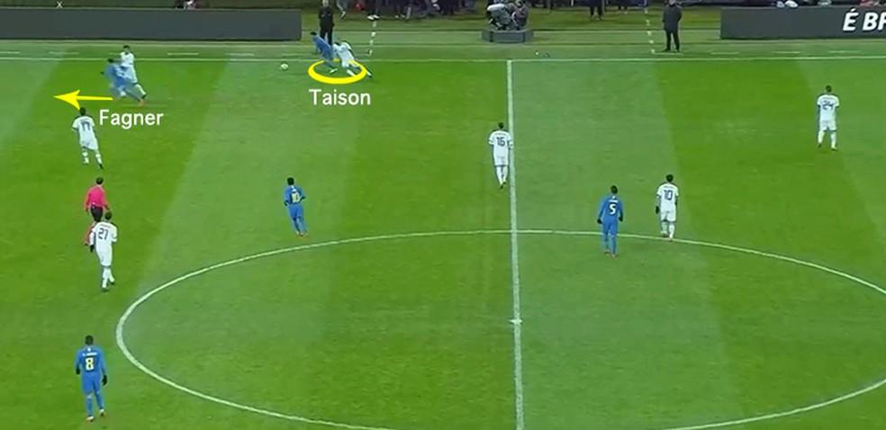 Taison fazendo a saída junto a Fagner (Foto: Leonardo Miranda)