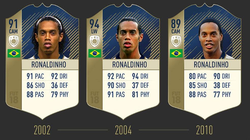 FIFA 18: confira as três cartas de Ronaldinho (Foto: Divulgação / EA)