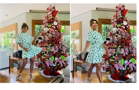 Árvore de Natal de Juliana Paes tem pelúcias com símbolos da data Reprodução