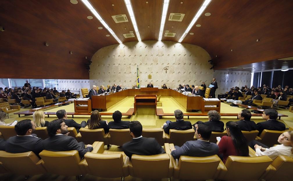 Plenário do Supremo Tribunal Federal durante julgamento sobre prisão após condenação em segunda instância — Foto: Rosinei Coutinho / SCO / STF