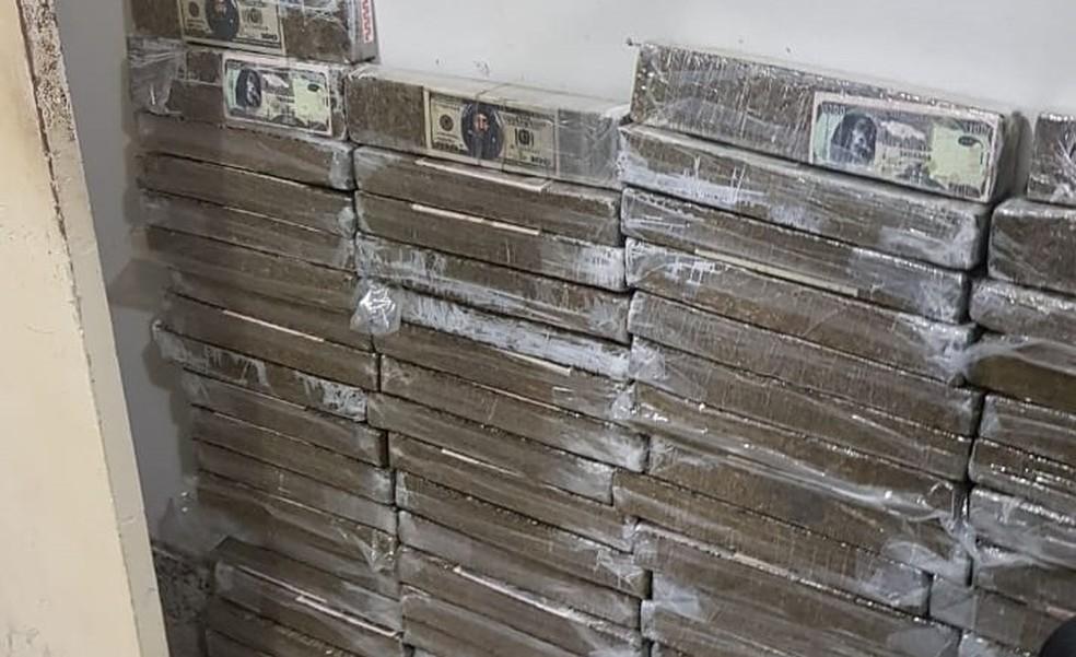 Cerca de 75 kg de maconha foram apreendidos pelos policiais — Foto: Divulgação