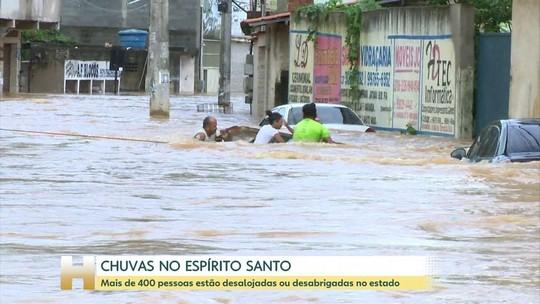 Chuvas tiram quase 500 pessoas de casa no Espírito Santo