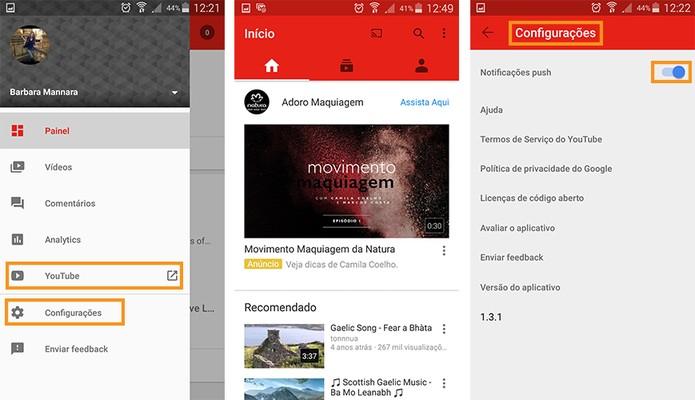 Configurações do app e acesso ao YouTube (Foto: Reprodução/Barbara Mannara)