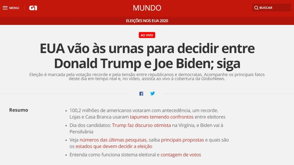 Portal G1 traz atualizações minuto a minuto sobre a corrida presidencial nos EUA — Foto: Reprodução/Paulo Alves