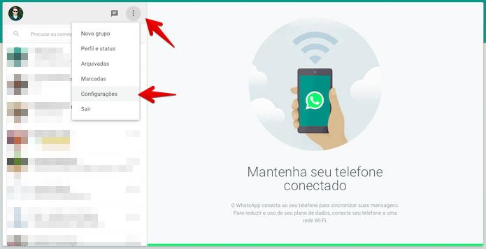 Acessando as configurações do WhatsApp Web (Foto: Reprodução/Helito Bijora)