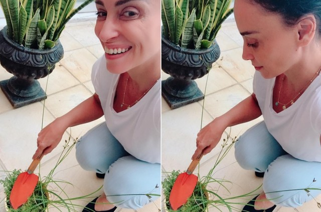 Suzana Pires tem feito jardinagem na quarentena (Foto: Arquivo pessoal)