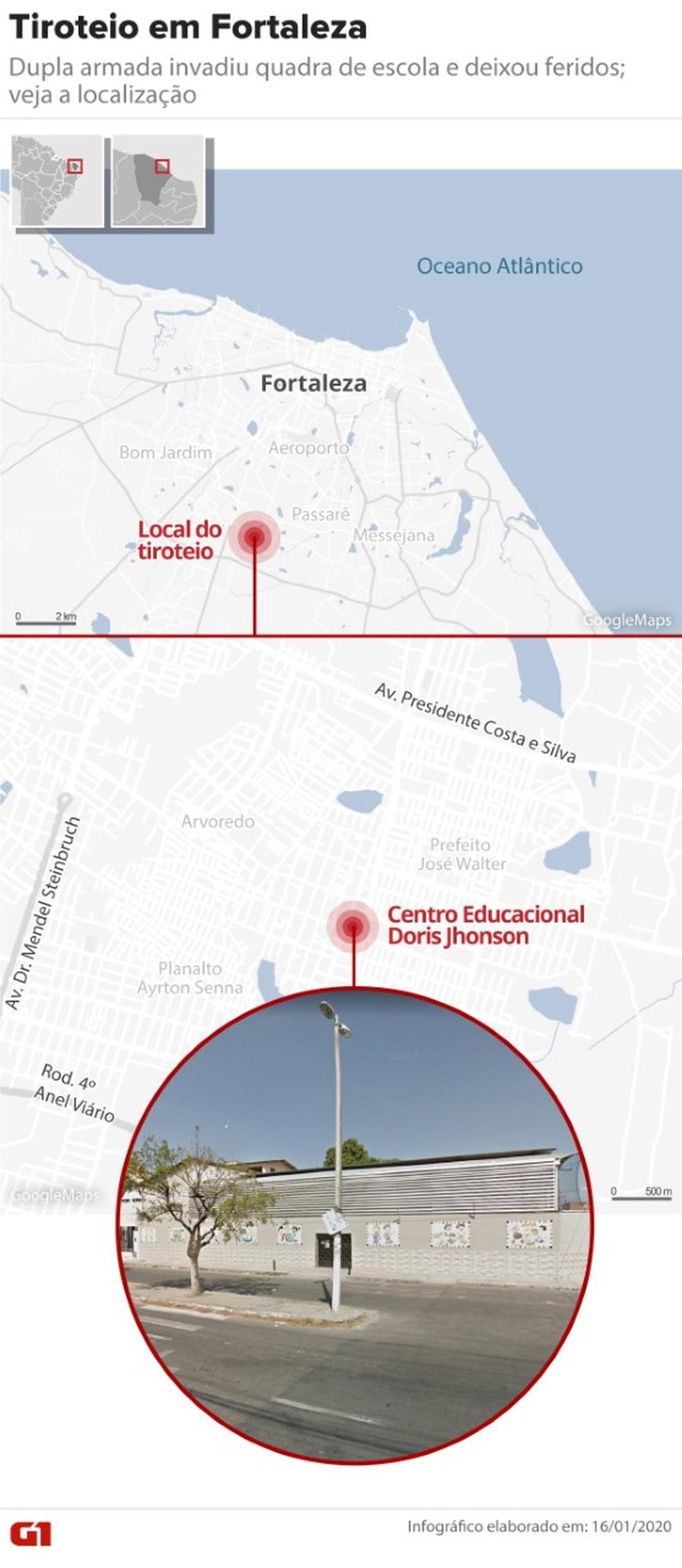 Tiroteio aconteceu em escola de Fortaleza — Foto: Guilherme Pinheiro/G1