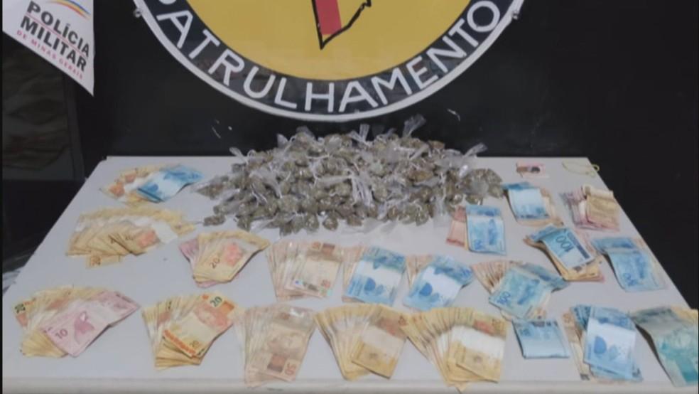 Drogas e dinheiro apreendidos — Foto: Reprodução/TV Globo