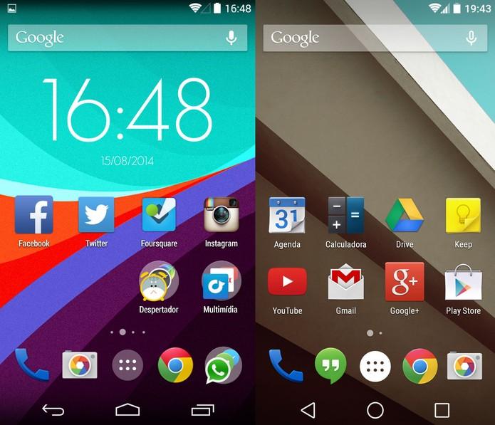 Tela inicial do KitKat e do Android L (Foto: Reprodução)
