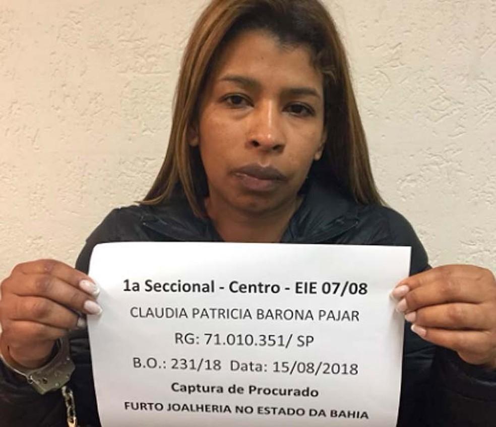 Cláudia Patrícia Pajar, colombiana presa em São Paulo por furto a joalheria na Bahia (Foto: Divulgação/SSP-BA)