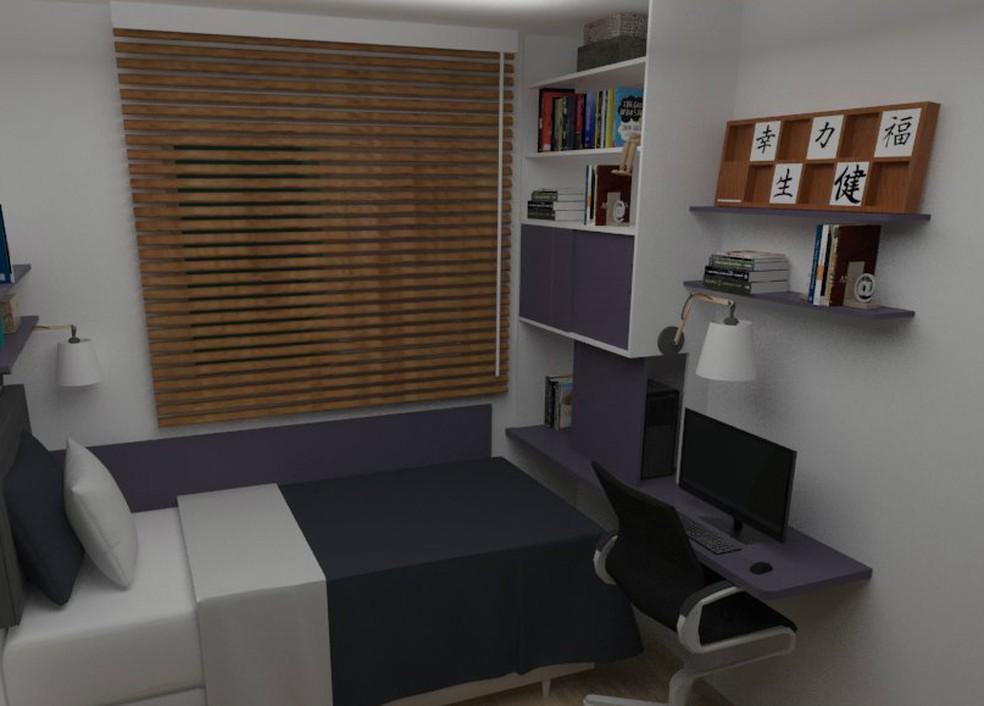 Projeto do quarto dos filhos de Roberta inclui cama com baú e local para estudos (Foto: Roberta Petucco/Arquivo pessoal)