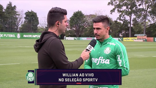 """Willian pede regularidade ao Palmeiras na luta pelo título e brinca com """"golaço"""" em Fortaleza"""