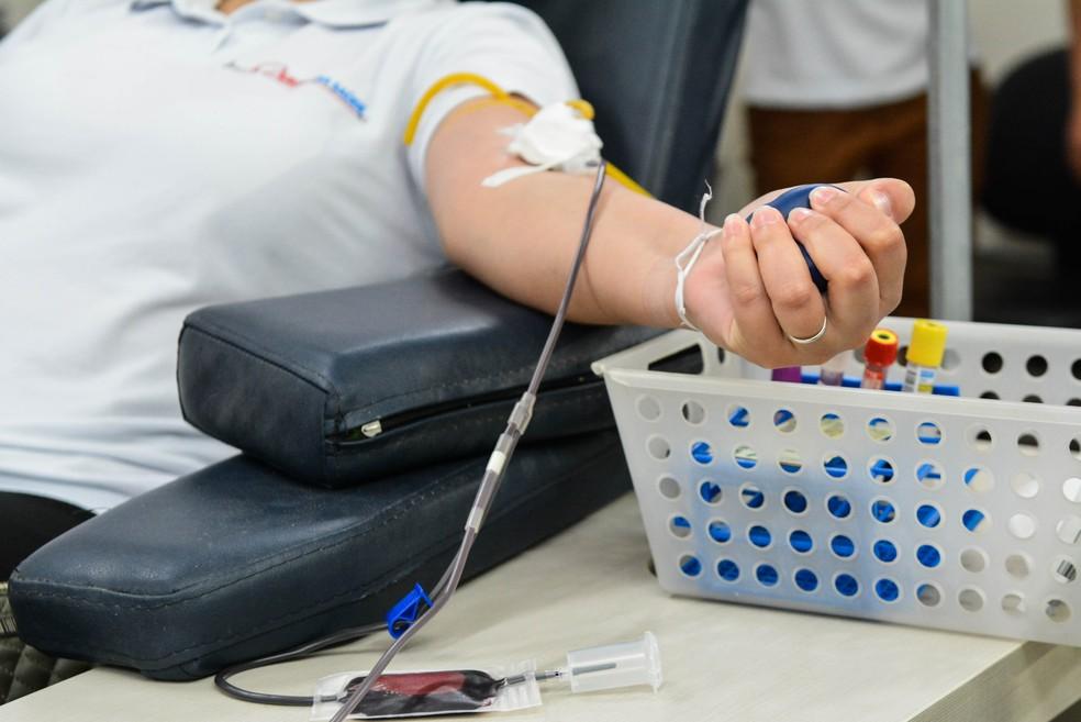 Doação de sangue — Foto: Tchélo Figueiredo - Secom/MT