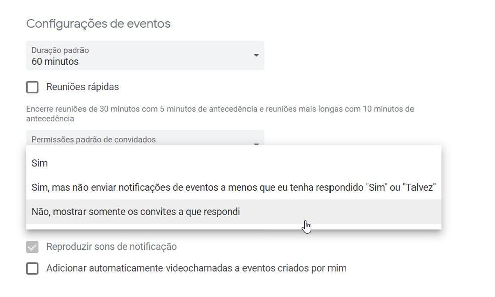 Google Agenda permite que e-mails acrescentem eventos no calendário de forma automática, mas opção pode ser ajustada. — Foto: Reprodução