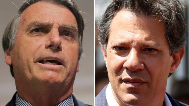 Bolsonaro e Haddad dificilmente vão concentrar o debate na questão da segurança pública no segundo turno, diz especialista (Foto: Reuters via BBC News Brasil)