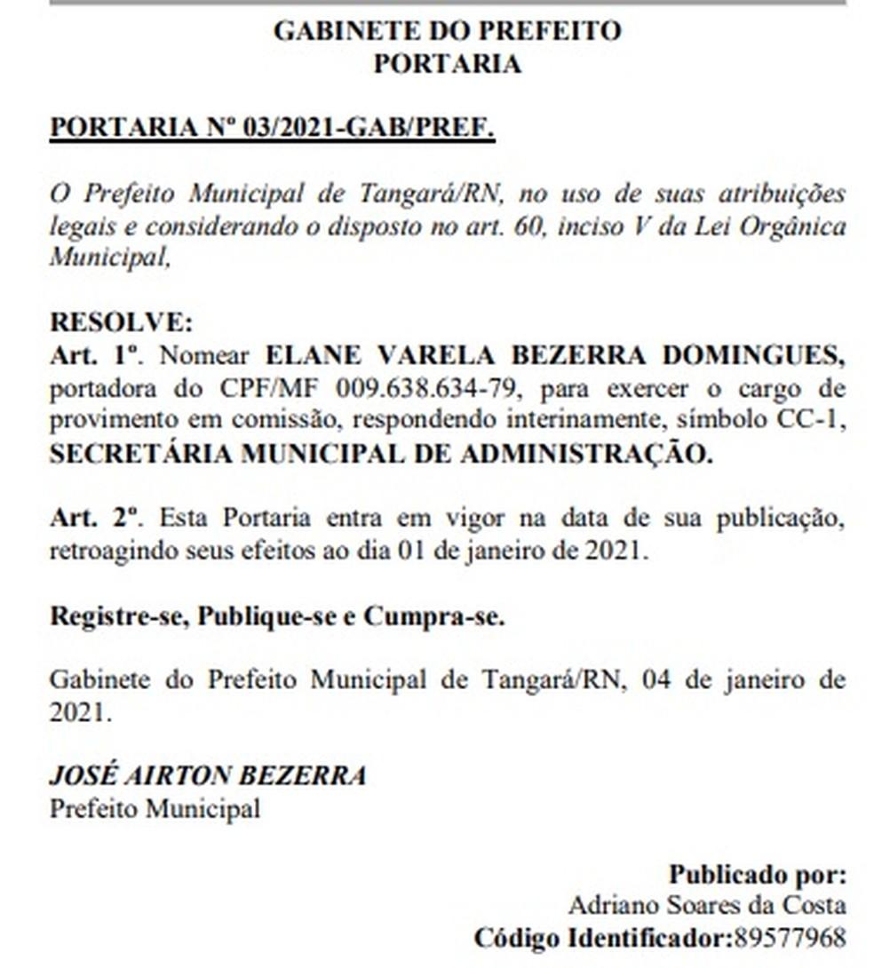 Nomeação da filha do prefeito de Tangará — Foto: Diário Oficial dos Municípios